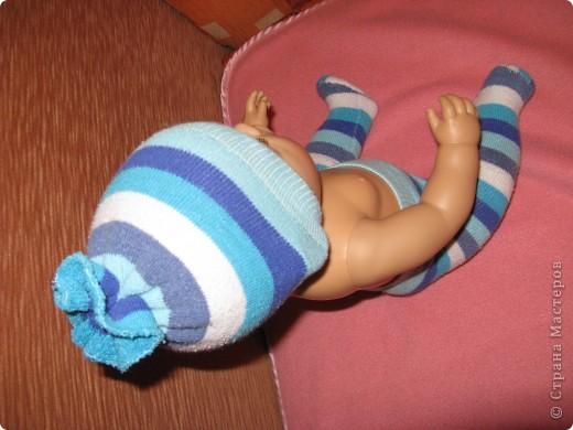 Из своих махровых гольф я сшила дочкиному бэби-бону Ванечке вот такие шапочку и колготки...:) фото 3