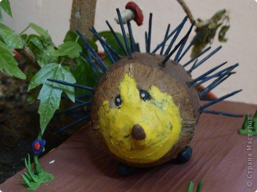 Такой замечательный ёжик получился у Ксении из кокоса. фото 1