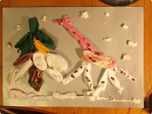 """Первый опыт ребят с салфетками.Были удивлены, когда предложила """"рисовать"""" используя салфетки. Работа Ильи, 1 класс  фото 1"""