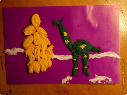 """Первый опыт ребят с салфетками.Были удивлены, когда предложила """"рисовать"""" используя салфетки. Работа Ильи, 1 класс  фото 3"""