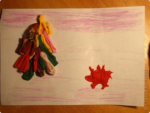 """Первый опыт ребят с салфетками.Были удивлены, когда предложила """"рисовать"""" используя салфетки. Работа Ильи, 1 класс  фото 2"""