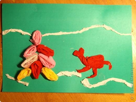 """Первый опыт ребят с салфетками.Были удивлены, когда предложила """"рисовать"""" используя салфетки. Работа Ильи, 1 класс  фото 4"""