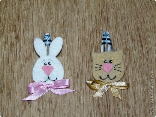 Кролик и киска из фетра, бантики - атласные ленты (ширина 0,5 см.) + контуры для ткани. фото 1