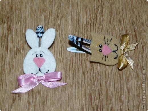Кролик и киска из фетра, бантики - атласные ленты (ширина 0,5 см.) + контуры для ткани. фото 2