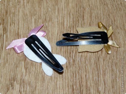 Кролик и киска из фетра, бантики - атласные ленты (ширина 0,5 см.) + контуры для ткани. фото 3