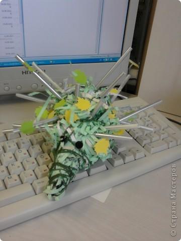 Наши ёжики и цветы из полосок бумаги(бумага пропущена через аппарат для уничтожения документов) фото 3