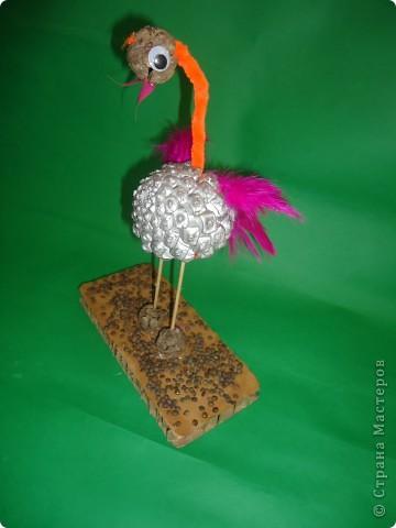Фламинго.Поделка из шишек. фото 3