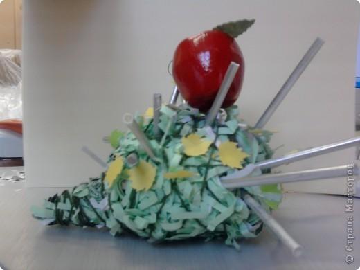 Наши ёжики и цветы из полосок бумаги(бумага пропущена через аппарат для уничтожения документов) фото 4