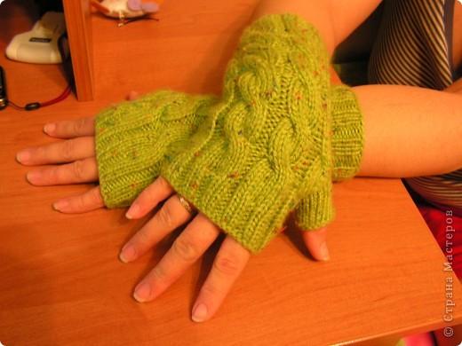 Перчатки без пальцев Вязание.