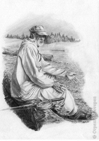 байки старого рыбака бумагаА3,карандаш 3,4В