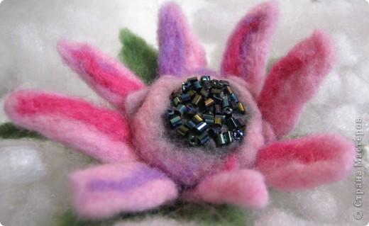 Мой первый цветочек из шерсти сделанный в технике - мокрое валяние. Когда стала делать, интузиазм мой быстро убежал)) так как ожидала, что шерсть бысто усядется. Так как я делала цветок так: взяла пластмассовый шарик, его обматала тоненько фиолетовой шерсть, поверх, тоже тоненько - ярко-розовой, а после уже нежно-розовой. Намочила в горячей мыльной воде, и стала укатывать, и ожижала, что шерсть даст усадку и плотно обхватит мой шарик. Но, она так плотно и не прилегла, как я не старалась. Помучавшись около получаса, я сполоснула что-то на подобии капли, разрезала лепестки, и поняла, что внутенние слои не свалялись! Я купила шерсть разного типа: бледно-розовая тоньше, чем шерсть ярких тонов. Может по этому так плохо сцепилось? По этому, пришлось прогуляться иголочкой, которая взяла и..... поломалась)))) Я так растроилась! ПЕРВЫЙ ОПЫТ, И ВСЕ ПОШЛО НЕ ТАК КАК Я ХОТЕЛА И ОЖИДАЛА, И КАК ПРЕДСТАВЛЯЛА! Намылила лепестки, и валяла пальцами, образовавшиеся неровности обрезала фото 3