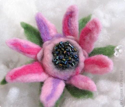 Мой первый цветочек из шерсти сделанный в технике - мокрое валяние. Когда стала делать, интузиазм мой быстро убежал)) так как ожидала, что шерсть бысто усядется. Так как я делала цветок так: взяла пластмассовый шарик, его обматала тоненько фиолетовой шерсть, поверх, тоже тоненько - ярко-розовой, а после уже нежно-розовой. Намочила в горячей мыльной воде, и стала укатывать, и ожижала, что шерсть даст усадку и плотно обхватит мой шарик. Но, она так плотно и не прилегла, как я не старалась. Помучавшись около получаса, я сполоснула что-то на подобии капли, разрезала лепестки, и поняла, что внутенние слои не свалялись! Я купила шерсть разного типа: бледно-розовая тоньше, чем шерсть ярких тонов. Может по этому так плохо сцепилось? По этому, пришлось прогуляться иголочкой, которая взяла и..... поломалась)))) Я так растроилась! ПЕРВЫЙ ОПЫТ, И ВСЕ ПОШЛО НЕ ТАК КАК Я ХОТЕЛА И ОЖИДАЛА, И КАК ПРЕДСТАВЛЯЛА! Намылила лепестки, и валяла пальцами, образовавшиеся неровности обрезала фото 4