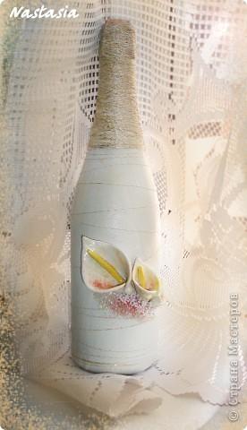 Бокалы, делала на свадебные торжества. Материалы: пластика, краска акриловая, ленты, бисер. фото 5