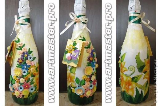 Подарочная бутылка.Декупаж +квиллинг. фото 1