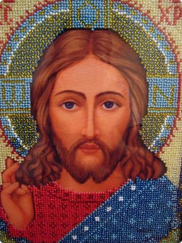 Христос Спаситель.Лик вышит ко Дню Рождения мужа,ему 33 года (возраст Иисуса Христа) фото 3