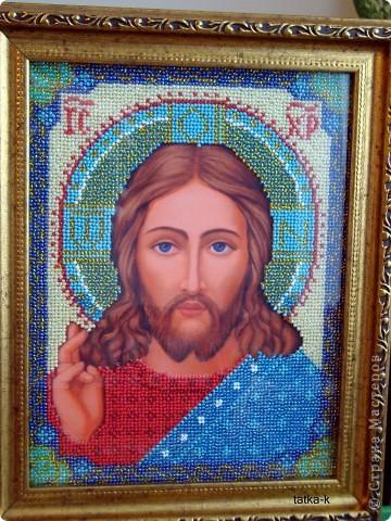 Христос Спаситель.Лик вышит ко Дню Рождения мужа,ему 33 года (возраст Иисуса Христа) фото 2