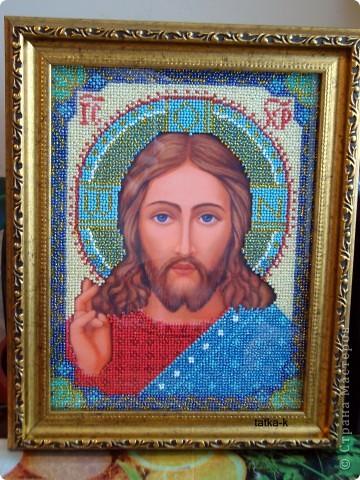 Христос Спаситель.Лик вышит ко Дню Рождения мужа,ему 33 года (возраст Иисуса Христа) фото 1
