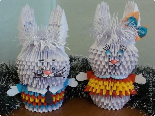 зайчата из оригами-модулей