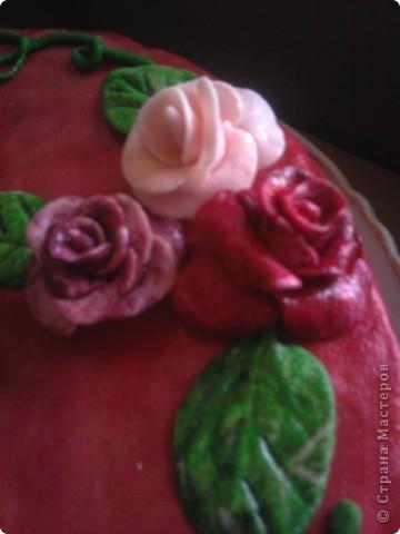 Вот такое украшение обычного медовика к Дню рожденья племяшкию Покрыт пирог мастикой из маршмелоу. Цветы, листочки и цветочница - из нее же. фото 2