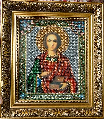 Икона Св. целитель Пантелеймон. Вышивка бисером