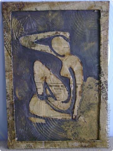 """Картина-панно """"репродукция"""" Henri Matisse Первый мой опыт работы с фактурной штукатуркой, хотя из конечного результата видно, что можно смело обойтись просто бумагой накладывая ее в несколько слоев, чтоб изображение было выпуклым."""