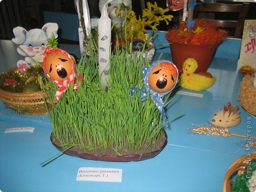 Делали эту композицию в прошлом году. Очень понравилась нам. Мягкая подставка из пророщенной пшеницы; скорлупа яиц снизу имеет проволочку на пластилине- для втыкания в землю; березка из свечки.
