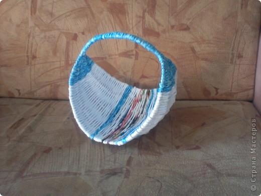 Моя первая плетенка из газеты. фото 1