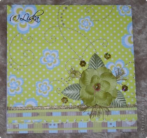 Желто-голубая с цветком фото 1