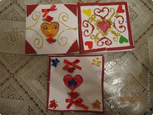 Открытки - валентинки мы сделали с пятилетним сыном, любимым бабушкам. фото 1