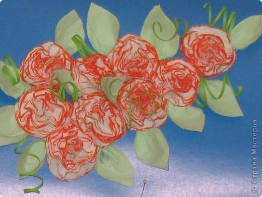 Цветы и листики делала из салфеток. Вся работа заняла минут 20