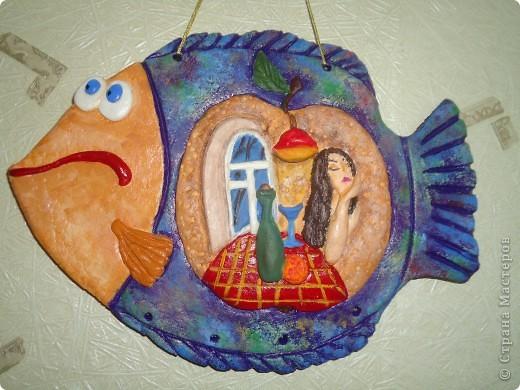"""Очень понравились работы Александры П. в """"Стране мастеров"""" в """"Глине"""", с её позволения сповторюшничала  замечательное панно на рыбке. фото 1"""
