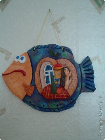"""Очень понравились работы Александры П. в """"Стране мастеров"""" в """"Глине"""", с её позволения сповторюшничала  замечательное панно на рыбке. фото 2"""