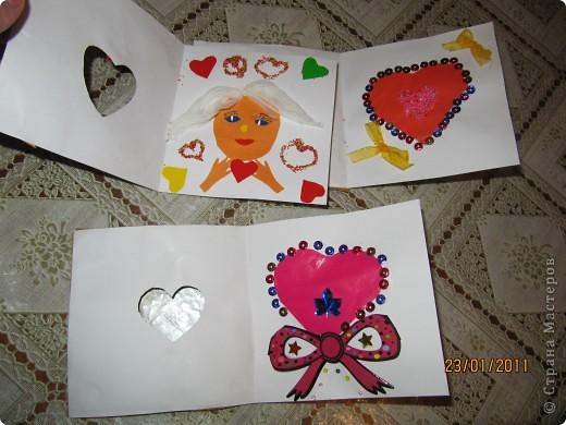 Открытки - валентинки мы сделали с пятилетним сыном, любимым бабушкам. фото 2