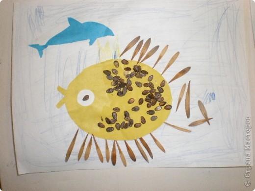 Занятие проводилось в подготовительной группе с детьми 6-7 летнего возраста. Рыбок вырезали по трафарету. Использовали семена арбуза и семена клёна. фото 6