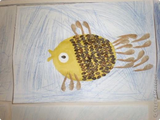 Занятие проводилось в подготовительной группе с детьми 6-7 летнего возраста. Рыбок вырезали по трафарету. Использовали семена арбуза и семена клёна. фото 5