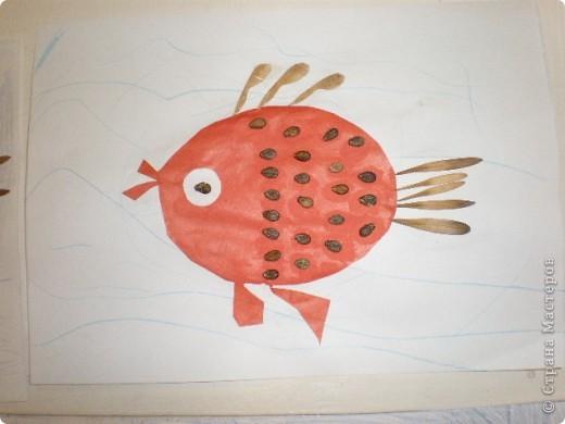 Занятие проводилось в подготовительной группе с детьми 6-7 летнего возраста. Рыбок вырезали по трафарету. Использовали семена арбуза и семена клёна. фото 7