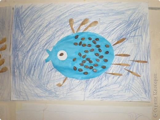 Занятие проводилось в подготовительной группе с детьми 6-7 летнего возраста. Рыбок вырезали по трафарету. Использовали семена арбуза и семена клёна. фото 8