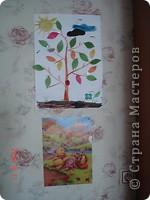 Мы с сыном изучаем времена года так. На листе бумаги я нарисовала ствол дерева и землю, месяц и звезду. Вырезала, солнце, листья (зеленые и осенние), тучу и облоко, цветок, гриб и жука. фото 2
