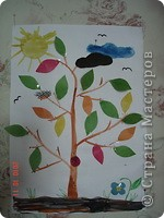 Мы с сыном изучаем времена года так. На листе бумаги я нарисовала ствол дерева и землю, месяц и звезду. Вырезала, солнце, листья (зеленые и осенние), тучу и облоко, цветок, гриб и жука. фото 1