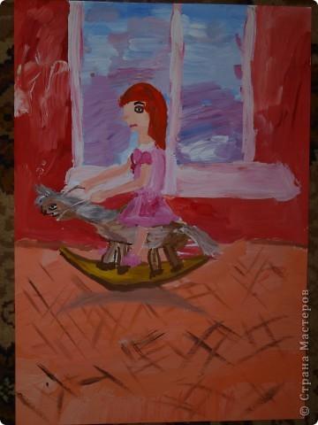 """""""Зайку бросила хозяйка под дождём остался зайка...""""  Тихончук Дарья (7 лет) так проиллюстрировала это стихотворение. фото 4"""