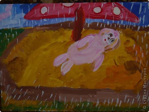 """""""Зайку бросила хозяйка под дождём остался зайка...""""  Тихончук Дарья (7 лет) так проиллюстрировала это стихотворение. фото 1"""