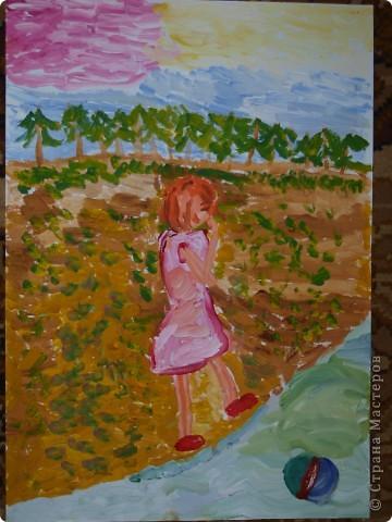 """""""Зайку бросила хозяйка под дождём остался зайка...""""  Тихончук Дарья (7 лет) так проиллюстрировала это стихотворение. фото 5"""