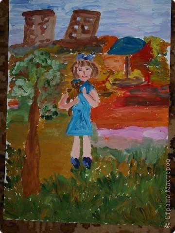 """""""Зайку бросила хозяйка под дождём остался зайка...""""  Тихончук Дарья (7 лет) так проиллюстрировала это стихотворение. фото 2"""