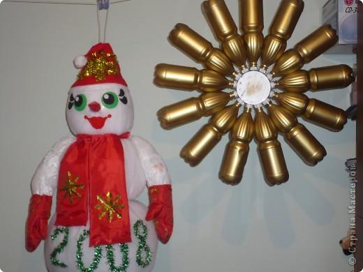 """Этого снеговика я """"слепила"""" на  городской конкурс елочных игрушек в 2008 году. Игрушка должна быть больше метра, у меня получилась 1,5. фото 3"""