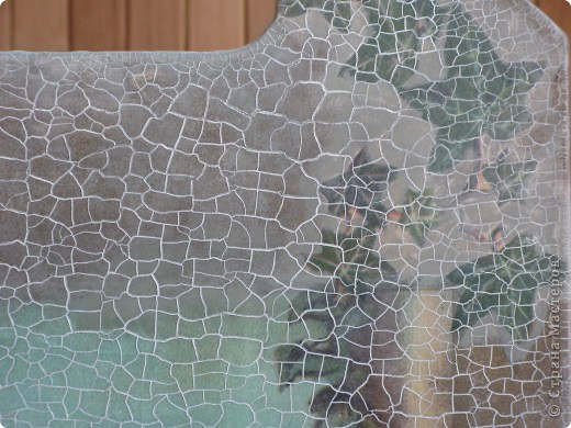 Художественный декупаж на досках: рисовая бумага, салфетки, прорисовка акриловыми красками, двухшаговый кракелюр, лак. фото 2