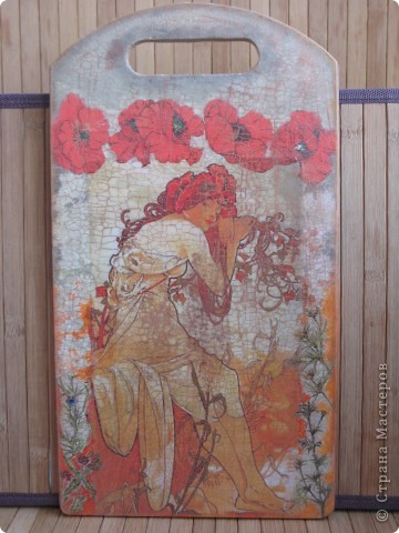 Художественный декупаж на досках: рисовая бумага, салфетки, прорисовка акриловыми красками, двухшаговый кракелюр, лак. фото 4