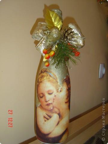 Первые попытки декорирования бутылок в подарок близким на Новый Год. фото 3