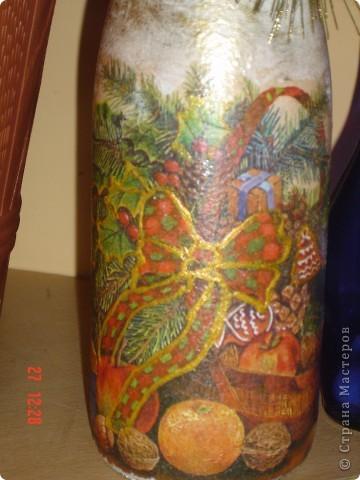 Первые попытки декорирования бутылок в подарок близким на Новый Год. фото 2