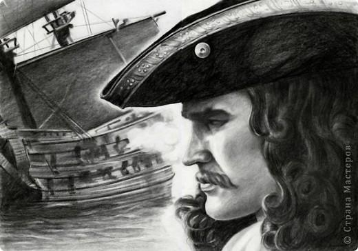 капитан-камандор бумагаА3,карандаш