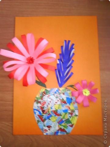 Поделка цветок в вазе из цветной бумаги 503